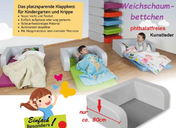 Kinderbett Safety+Soft mit klappbarer Matratze